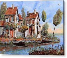 Barche A Riva Acrylic Print by Guido Borelli