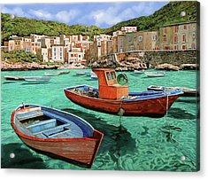 Barche Rosse E Blu Acrylic Print by Guido Borelli