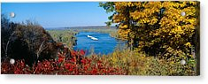 Barge On Mississippi River In Autumn Acrylic Print