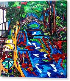 Barges On The Riverwalk Acrylic Print by Patti Schermerhorn