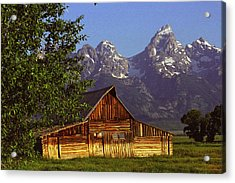 Barn Against Tetons Acrylic Print