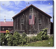 Barn And American Flag Acrylic Print