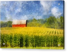 Acrylic Print featuring the digital art Barn And Cornfield by Francesa Miller