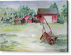 Barn And Cultivator Acrylic Print by Christine Lathrop