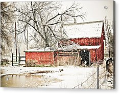 Barn And Pond Acrylic Print by Marilyn Hunt