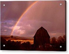 Barn And Rainbow In Autumn Acrylic Print