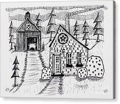Barn And Sheep Acrylic Print