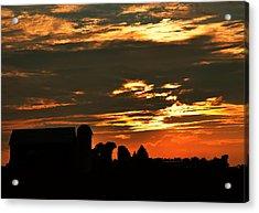Barn And Silo At Sunset Acrylic Print