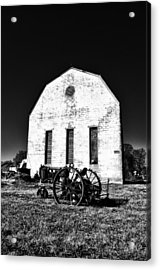 Barn And Tractor In Black And White Acrylic Print by Bill Cannon