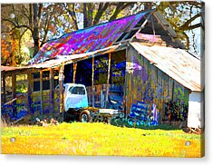 Barn And Truck Acrylic Print by Danielle Stephenson