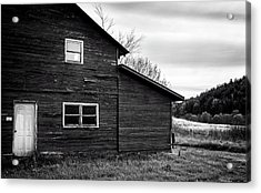 Barn And Wildflowers In Black And White Acrylic Print by Greg Mimbs