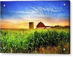 Barn At The Farm At Sunset Acrylic Print