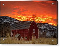 Acrylic Print featuring the photograph Barn Burner Sunset. by Johnny Adolphson