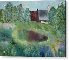 Barn By Pond Acrylic Print