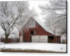 Barn Fog And Hoarfrost Acrylic Print by Fred Lassmann