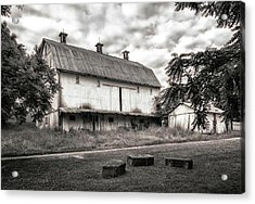 Barn In Black And White Acrylic Print by Tom Mc Nemar