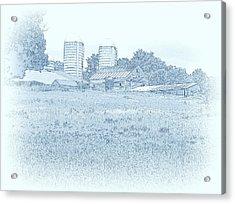 Barn In Blue Acrylic Print by Susan Lafleur