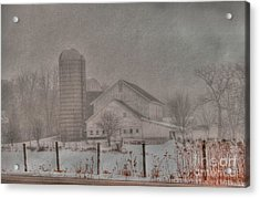 Barn In Fog Acrylic Print by David Bearden