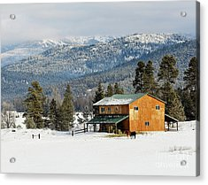 Barn In The Snow Acrylic Print by Melody Watson