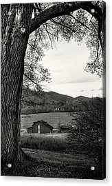 Barn In The Valley In Black And White Acrylic Print by Greg Mimbs