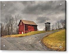 Barn In Winter Storm Acrylic Print by Tony  Bazidlo