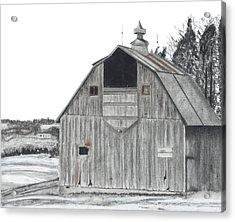 Barn On Hillside Acrylic Print by Bryan Baumeister