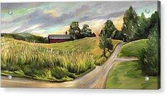Barn On The Ridge In West Newbury Vermont Acrylic Print