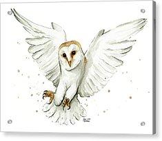 Barn Owl Flying Watercolor Acrylic Print by Olga Shvartsur