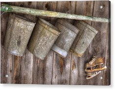 Barn Scenes - Old Skates And Sap Cans Acrylic Print