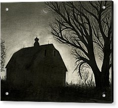 Barn Sillouette Acrylic Print by Bryan Baumeister