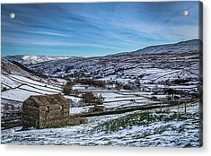 Barn View In The Snow. Acrylic Print by Yorkshire In Colour