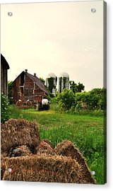 Barn With Silos And Hay Acrylic Print