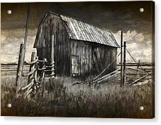 Barn With Wood Fence Acrylic Print by Randall Nyhof