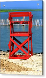 Barnegat Light Lifeguard Chair Acrylic Print by John Rizzuto