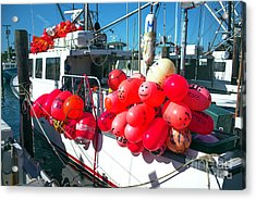Acrylic Print featuring the photograph Barnegat Red Buoys by John Rizzuto