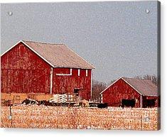 Barns In Winter Acrylic Print by David Bearden