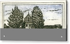 Acrylic Print featuring the mixed media Barnstable Yacht Club Etching by Charles Harden