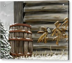 Acrylic Print featuring the digital art Barnyard Barrel And Chickadee by Darren Cannell
