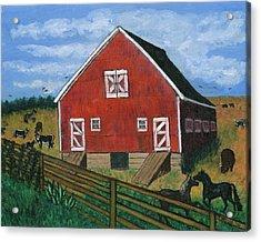 Barnyard On The Prairie Acrylic Print by Tanna Lee M Wells