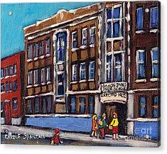 Baron Byng High School Rue St Urbain Montreal Memories Class Of 65 Canadian Art Carole Spandau       Acrylic Print