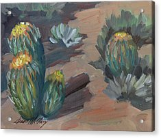 Acrylic Print featuring the painting Barrel Cactus At Tortilla Flat by Diane McClary