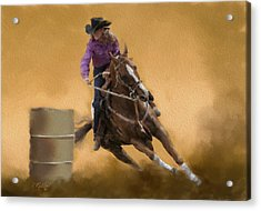 Barrel Racing Acrylic Print by Kathie Miller