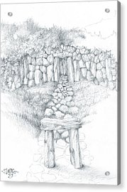 Acrylic Print featuring the drawing Barrow Tomb by Curtiss Shaffer