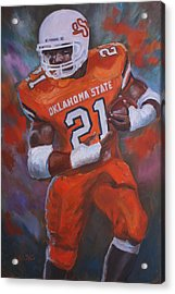 Barry Sanders, Oklahoma State Acrylic Print by Nora Sallows