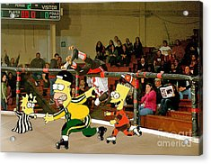 Bart Vs Homer Simpson At The Roller Derby Acrylic Print