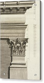 Base, Capital And Entablature Of The Pilaster Acrylic Print by Giovanni Battista Borra