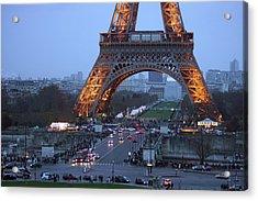 Base Of Eiffeltower Acrylic Print by Erik Tanghe