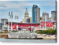 Baseball And Boats In Cincinnati Acrylic Print by Mel Steinhauer