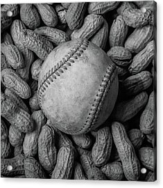 Acrylic Print featuring the photograph Baseball And Peanuts Black And White Square  by Terry DeLuco