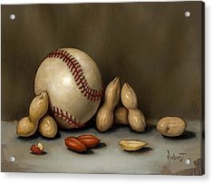 Baseball And Penuts Acrylic Print by Clinton Hobart
